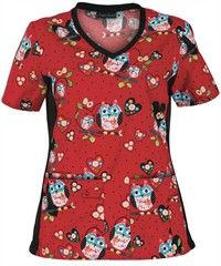 Cherokee Flexibles Scrubs Hoot-enanny Print Top