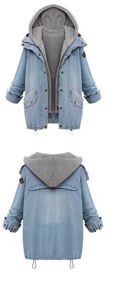 Two-Piece Denim Jacket- Features Snap Button Closures