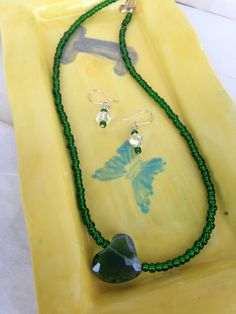 Necklace of Dark Green Seed Beads with a Heart Shaped Pendant by kaysjewelrydesign on Etsy