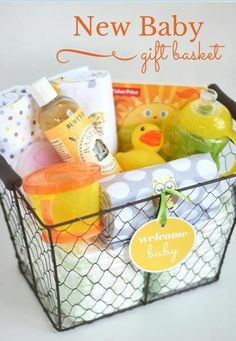 42 Fabulous DIY Baby Shower Gifts - DIY Baby Gifts – New Baby Gift Basket – Homemade Baby Shower Presents and Creative, Cheap Gift - Baby Shower Gift Basket, Baby Shower Presents, Baby Shower Gifts For Boys, Unique Baby Shower Gifts, Baby Gifts For Girls, Baby Presents, Diy Gift Baskets, Baby Baskets, Basket Gift