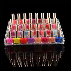 El organizador del esmalte para uñas acrílico muestra el estante del soporte del maquillaje grande 4 gradas