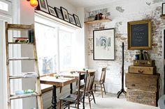 Oooh, I like that exposed brick wall. Home Office, Office Style, Office Decor, Stair Shelves, Ladder Bookshelf, Style Loft, Cafe Style, Restaurant New York, Art Restaurant