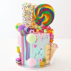 Sweetie Birthday Cake, Sweetie Cake, Candy Birthday Cakes, Candy Cakes, Cupcake Cakes, Bolo Drip Cake, Drip Cakes, Candy Theme, Candy Party