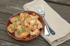 Roasted Shrimp with Garlic Chips, Chili Oil and Thyme