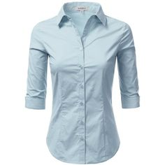 Doublju Solid 3/4 Sleeve Cotton Button Down Collared Shirt Plus size... (1.045 RUB) ❤ liked on Polyvore featuring tops, blouses, blue shirt, cotton blouse, blue blouse, cotton button down shirts and plus size button down shirt