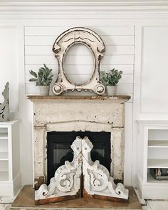 A big project I want to tackle this weekend? Tile this fireplace in our front living room! There is a first time for everything & I'm ready to get this project done so we can be closer to having a finished space. Next up in this area? Adding windows to each side of the fireplace... I can't wait! So many fun big projects coming up at @whitecottagefarm... stay tuned for updates [fails & triumphs]. Also, can we talk about these corbels I got from @jessica.co.vintage?! I'm a little obsessed…