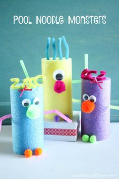 These Pool Noodle Monsters are a great kids craft idea for a summer day!