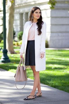 Fall date night outfits we love from favorite bloggers like Pink Peonies: wear a pleated skirt with a thin sweater and tailored coat