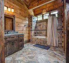 Rustic Bathroom Design Ideas with Beautiful Wood, Lighting, Shower, and Tiles - Best Rustic Bathroom Decor Ideas: Amazing Rustic Bathroom Designs Rustic Cabin Bathroom, Rustic Bathroom Designs, Rustic Cabin Decor, Rustic Bathrooms, Bathroom Ideas, Bathroom Mirrors, Bathroom Cabinets, Lodge Bathroom, Bathroom Faucets