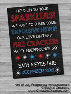 of July Independence Day Pregnancy Announcement – Jennifer Forest of July Independence Day Pregnancy Announcement This is such a cute way to announce during of July if we're pregnant Baby Announcement To Husband, Happy Independence Day, Reveal Parties, Future Baby, Gender Reveal, Fourth Of July, Baby Love, Baby Baby, New Baby Products