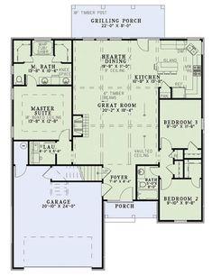 European Style House Plan - 3 Beds 2 Baths 1572 Sq/Ft Plan #17-2453 Floor Plan - Main Floor Plan - Houseplans.com