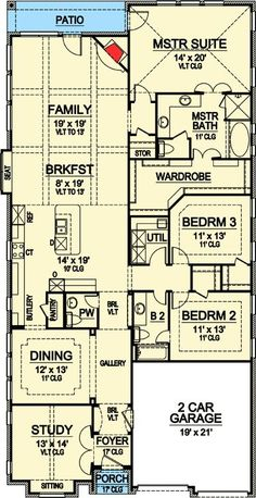 European Style House Plans - 3177 Square Foot Home, 1 Story, 3 Bedroom and 2 3 Bath, 2 Garage Stalls by Monster House Plans - Plan The Plan, How To Plan, Narrow Lot House Plans, House Floor Plans, Decorative Pillars, Monster House Plans, One Story Homes, Elegant Dining Room, First Story