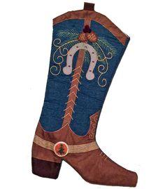 "Fun Christmas stocking with denim, swirls and horseshoe theme. 17.5"" x 11"" (inc center hang loop, pictured)"
