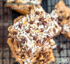 Healthy gluten free almond flour bars made with almond meal, almond butter, flax seeds, honey and walnuts. Great post-workout snack!