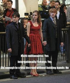 I love Harry Potter Old enough to cross road without holding hands? Harry PotterOld enough to cross road without holding hands? Ridiculous Harry Potter, Memes Do Harry Potter, Harry Potter Cast, Harry Potter Fandom, Harry Potter World, Potter Facts, Harry Potter Children, Harry Potter Friendship, Harry Potter Spells