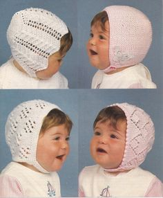 PDF Knitting Pattern for  Knitted Bonnets for Baby by georgie8109