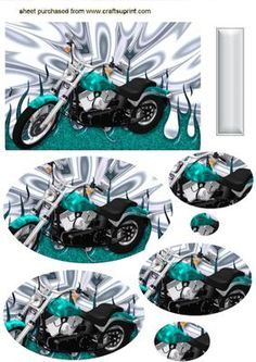 TURQUIOSE BLUE MOTORBIKE ON SILVER EFFECT OVAL PYRAMIDS on Craftsuprint - Add To Basket!