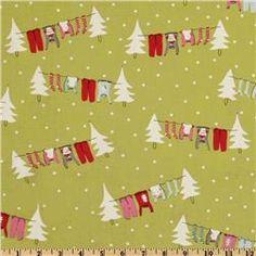 Moda Cherry Christmas Clothesline Noel Lime