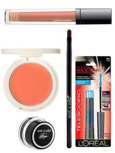 MAKE Cream Luminous Lip Gloss in Flesh, $18, weseebeauty.com  L'Oreal Telescopic Shocking Extensions Waterproof Mascara, $9.99, ulta.com  Wet N Wild Fergie Cream Liner, $4.99, drugstore.com  Blush in Flush, $12, topshop.com
