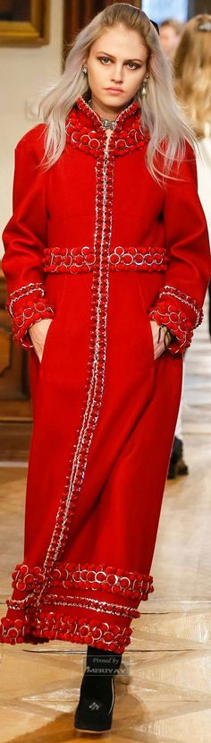 Chanel.~ Pre-Fall Red Maxi Top Coat, 2015.