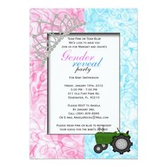 Shop Gender Reveal Party Invitation created by ForeverAndEverAfter. Gender Reveal Party Games, Gender Reveal Party Invitations, Baby Shower Gender Reveal, Reveal Parties, Baby Shower Invitations, Vintage Invitations, Zazzle Invitations, Invite