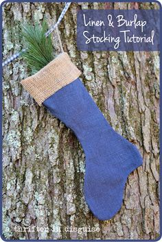 Burlap and Linen Christmas Stockings