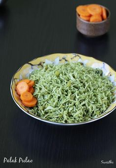 Palak rice or palak pulao recipe - healthy, delicious and quick to make any time even for the lunch box. It tastes great on its own without any side