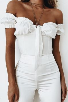 All white. White bustier top, high waisted white trousers, white off the shoulder top. Street style, street fashion, best street style, OOTD, OOTD Inspo, street style stalking, outfit ideas, what to wear now, Fashion Bloggers, Style, Seasonal Style, Outfit Inspiration, Trends, Looks, Outfits.