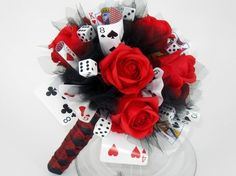 Playing card last vegas themed bouquet