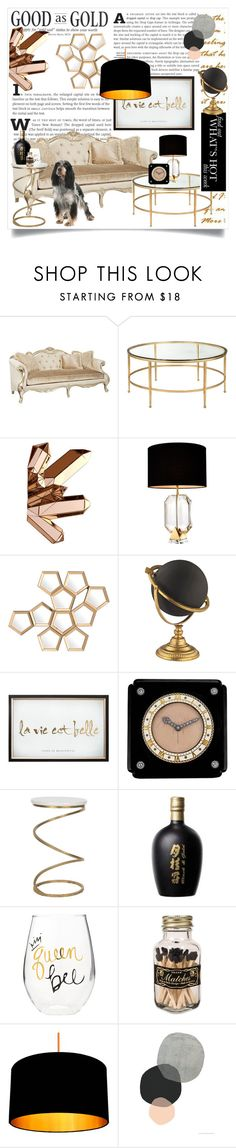 """Good as Gold..."" by captainsilly ❤ liked on Polyvore featuring interior, interiors, interior design, home, home decor, interior decorating, Universal Lighting and Decor, Eichholtz, Cartier and Safavieh"