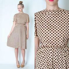 Vintage 70s Draped Polka Dot Mod Dress Cape Sleeve Dolly Full Skirt Brown Tan S | eBay