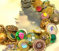1800s BUTTON charm bracelet, Antique Victorian flowers in pink & green. Antique button jewelry, jewellery.