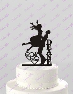 Wedding Cake Topper Groom Lifting Bride, Silhouette Couple, Mr & Mrs Personalized with Last Name, Acrylic Cake Topper [CT54]