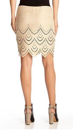 Love the Skirt! Love the Sexy Heels! Light Khaki Riviera Faux Suede Cutout Skirt Fashion #Riviera #New #Spring_2015 #Faux_Suede #Skirt #Fashion