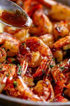 Pouring sauce on shrimp | cafedelites.com