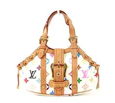 Authentic Louis Vuitton bag! Done in fun multicolor monogram canvas trimmed with vachetta leather this bag is a tiny statement piece! The details are what makes this bag special: the almost triangular shape the gathered sides and  belted clasp - goalsBox™