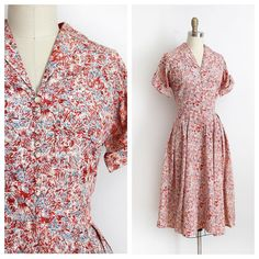 NEW | 1940s red patterned dress | 36-28-open by trunkofdresses