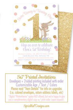 Some Bunny Is One Invitation, Bunny theme 1st Birthday Invites, Blush Pink Lavender Gold Glitter Easter Birthday Girl Invites, Hop on Over - SprinkledDesigns.com