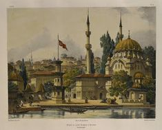 Old Istanbul illustrations Ottoman Empire, Istanbul Turkey, City Art, Pyrography, Illustrations, Taj Mahal, Art Gallery, Old Things, Building