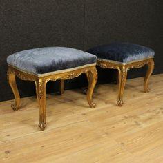 800€ Pair of golden footstools in blue velvet.  Visit our website www.parino.it #antiques #antiquariato #furniture #lacquer #antiquities #antiquario #ottoman #stool #footstool #decorative #interiordesign #homedecoration #antiqueshop #antiquestore #gold #golden
