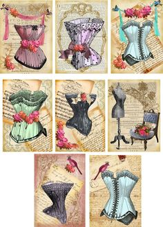 Miniature Printables - Vintage Inspired Corset Note Cards Tags ATC Altered Art Set of 8 Decoupage Vintage, Papel Vintage, Decoupage Paper, Vintage Paper, Vintage Bag, Retro Vintage, Vintage Labels, Vintage Ephemera, Vintage Cards