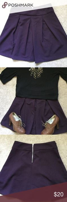 The Limited Deep Plum Size 4 skirt Deep plum skirt with pleats in front and zipper in back. Can be worn low on hips or higher. Materials: 96% polyester and 4% spandex. Looks amazing with tights and boots! Worn a few times...I LOVE this skirt I hope you do too! :) The Limited Skirts Circle & Skater