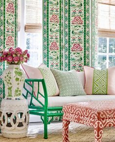 Scalamandre Fabric's new Chinois Chic collection takes you through the vivid and expressive tradition of chinoiserie. Plush velvets, detailed vibrant prints, embroidery and more. Check out the whole collection here. Luxury Furniture Stores, Affordable Furniture Stores, Furniture Websites, Contemporary Wallpaper, Contemporary Furniture, Contemporary Design, Pierre Frey, Burke Decor, Dark Interiors