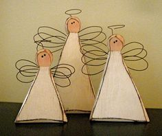 "These sweet angels are cut from 2"" thick pine with carved edges and range in size from 4- 8"" tall. Bases measure 4-5"" wide. They are painted, antiqued and finished with wire wings and halos. So sweet...=)"
