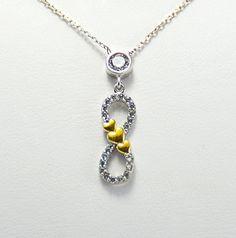 CZ love  Infinity Necklace Sterling Silver by KurtArtJewelry