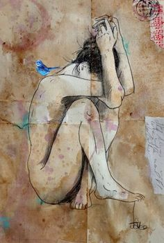 "Saatchi Art Artist Loui Jover; Drawing, ""in deep"" #art"