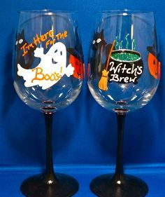 i came for the boos painted wine glass - Google Search