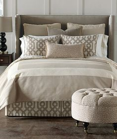 Discover more ways to relax with luxury bedding sets and bedding collections, offering the ultimate in designer style and comfort for your master bedroom or guestroom. Dream Bedroom, Home Bedroom, Bedroom Decor, Tan Bedroom, Casual Bedroom, Bedroom Ideas, Pretty Bedroom, Bedroom Designs, Modern Bedroom
