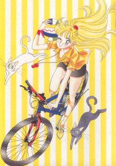 """girlsbydaylight:  """"I wanted to draw the cheerful Minako-chan, and I put her on a bicycle. Drawing it was so fun, I finished it in the blink of an eye. Taking Artemis and Luna, on a Sunday afternoon with good weather, she's going to Omotesandou in Harajuku. I guess that's the feeling."""" - Takeuchi Naoko, via Manga Style!, translated by Kurozuki"""