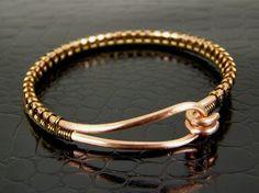 Jewelry, home, food: http://www.pinterest.com/sftsebreez/  Copper Wire Bangle Bracelet Wire Wrapped in Brass